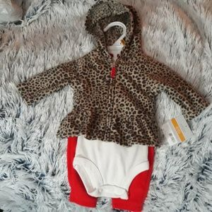 Girls Newborn 3pc leopard set